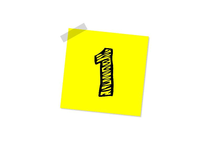 Numeral 1 sticky note