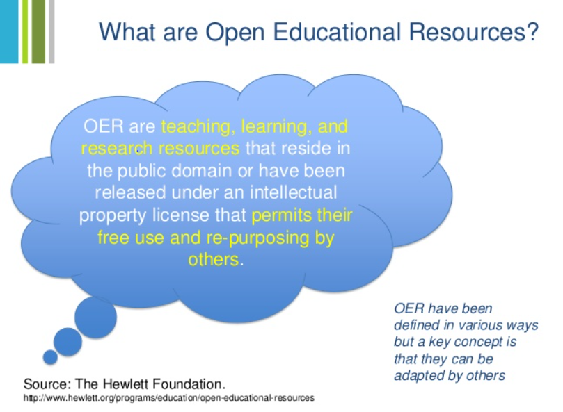 A blue cloud with this text inside: OER are teaching, learning, and research resources that reside in the public domain or have been released under an intellectual property license that permits their free use and re-purposing by others. OER have been defined in various ways but a key concept is that they can be adapted by others.