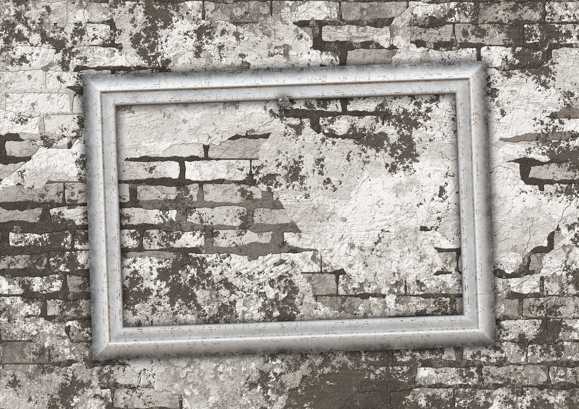 Empty picture frame on a wall