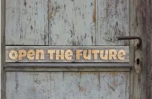 text reading 'open the future' on a door