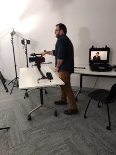 Anthony Burke operating cameras