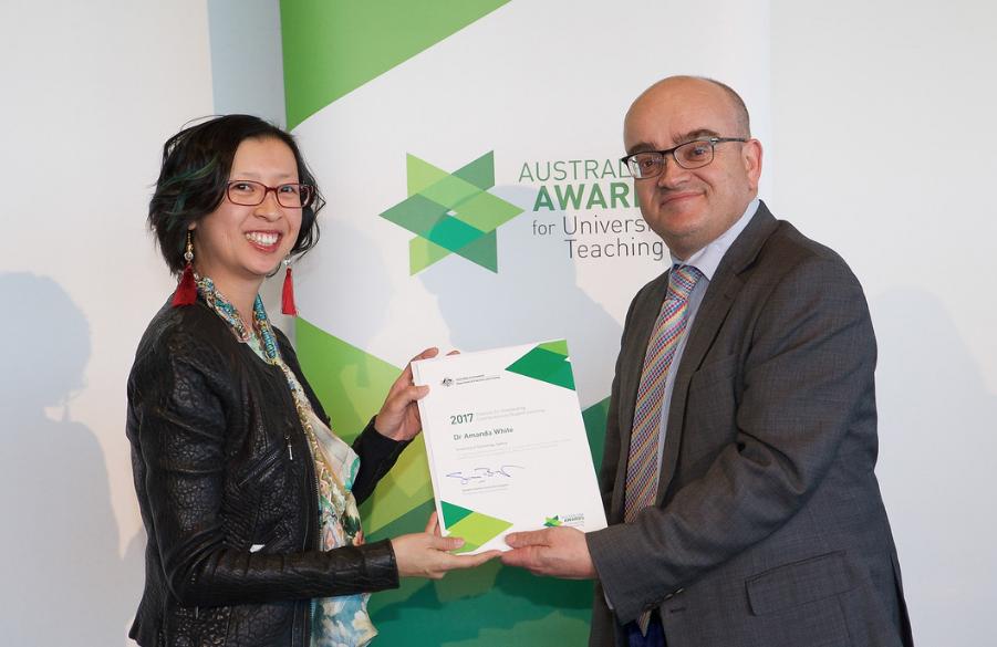 Amanda White receiving her award