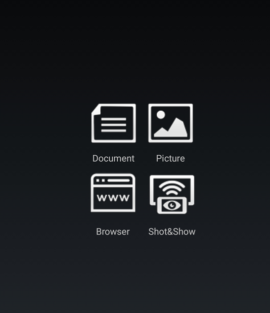 a shot of the android interface for the airmedia app, with four white icons against a black background: document, picture, browser and shot&show