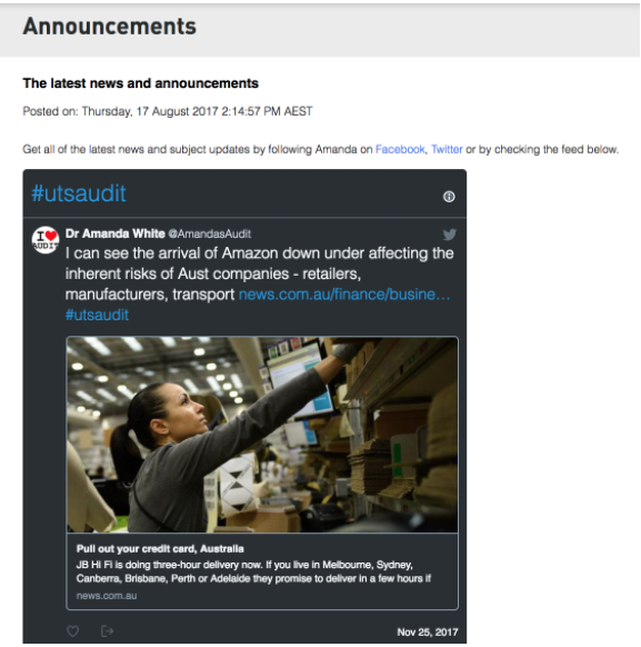 Screenshot showing Twitter feed embedded in UTSOnline announcements