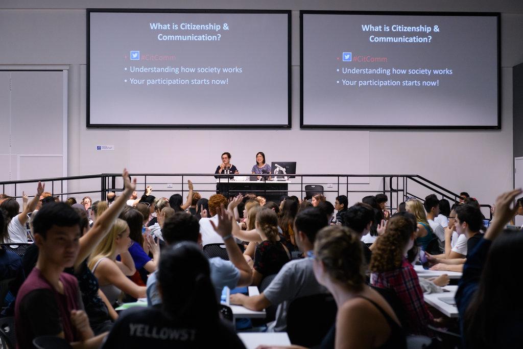 Jenna Price and Christina Ho on one of four raised platforms