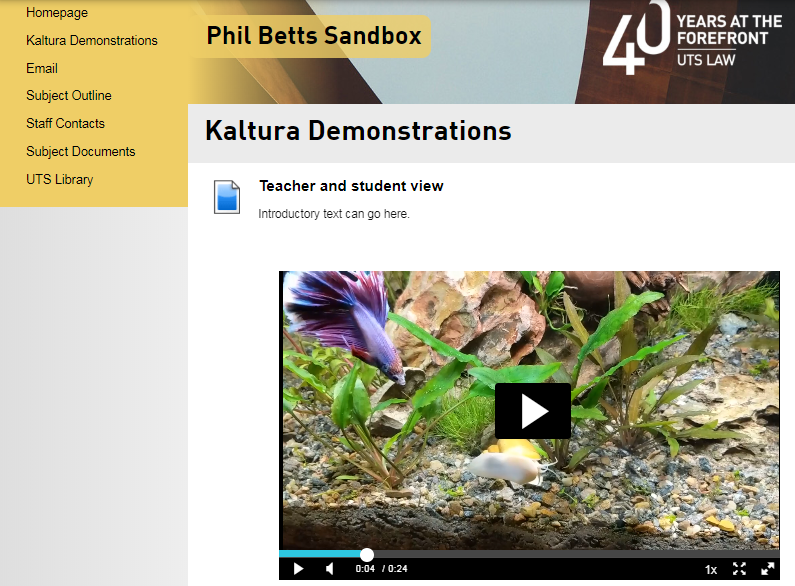 UTSOnline screenshot with embedded Kaltura media