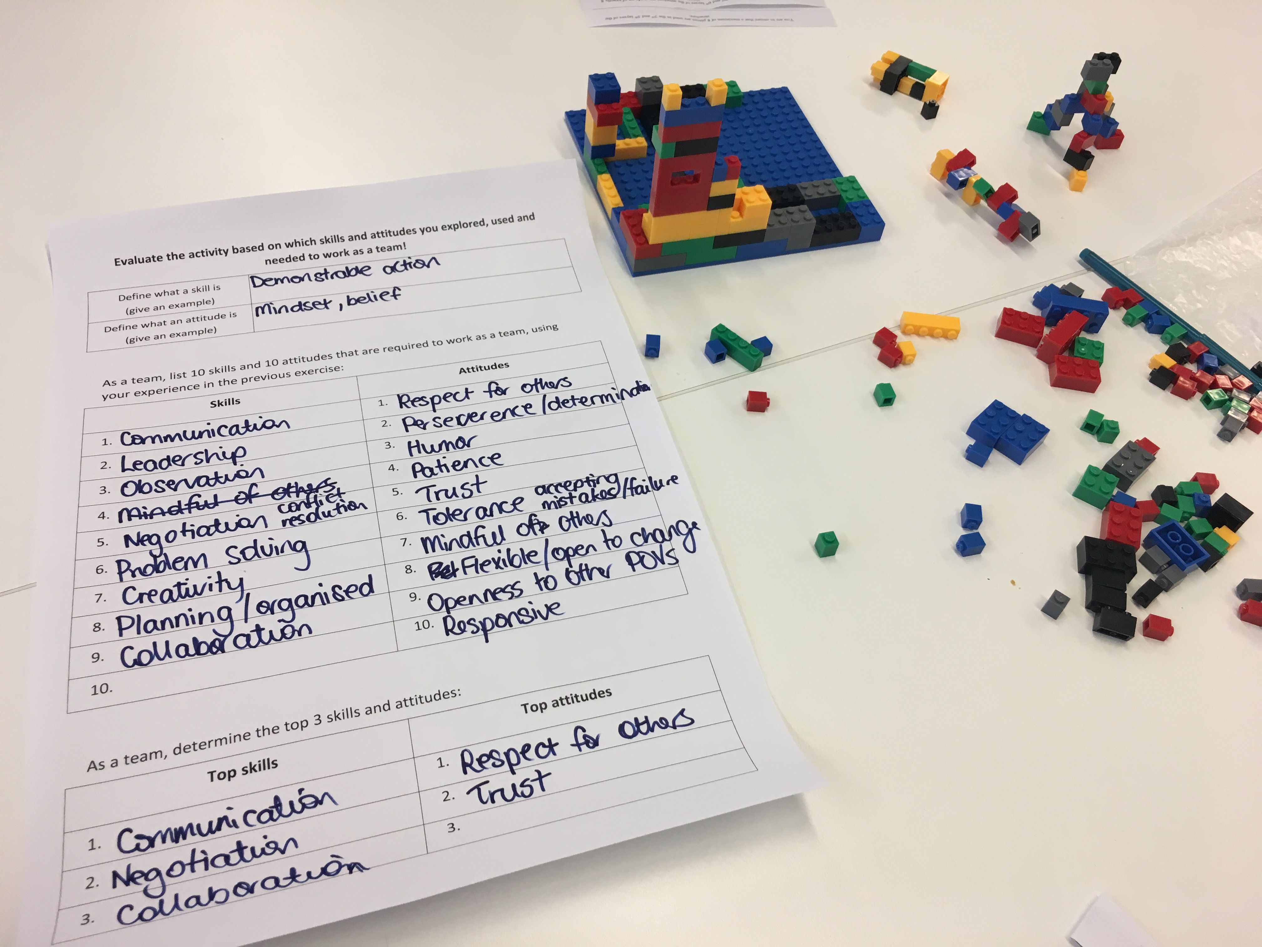 a piece of paper from an activity at the forum and colourful lego pieces on a desk