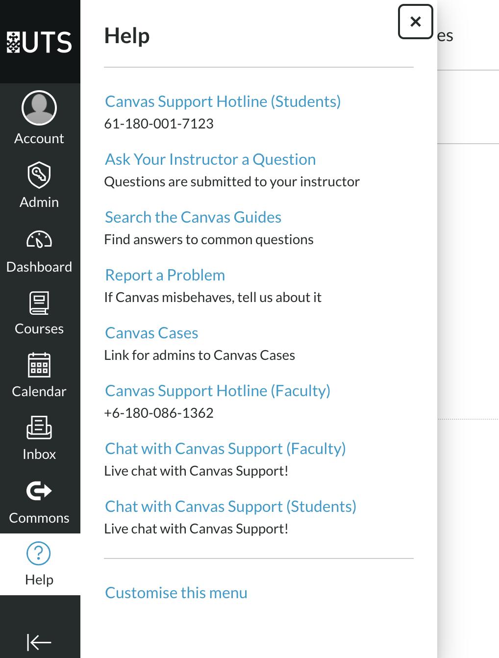 Screenshot of Canvas help menu