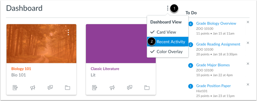 A screenshot showing how to access Dashboard in Recent Activity View