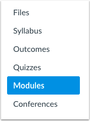 A screenshot highlighting Modules on the course navigation menu.