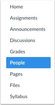 A screenshot of the Course Navigation Menu, with the People link highlighted.
