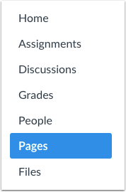 A screenshot highlighting Pages on the course navigation menu