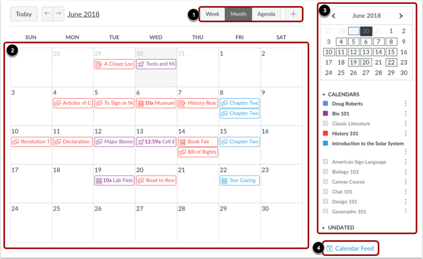 A screenshot of the Calendar, displaying important dates for selected courses.