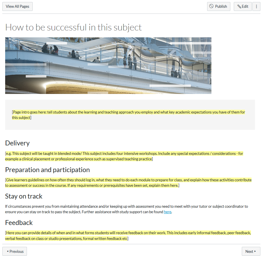 """A screenshot of the """"How to be successful in this subject""""page from the UTS Canvas shell"""