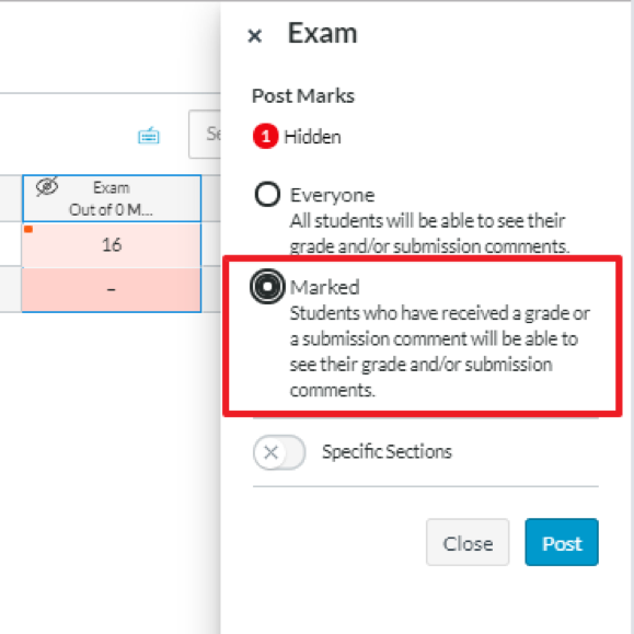 Screenshot of New Gradebook with 'Marked' selected
