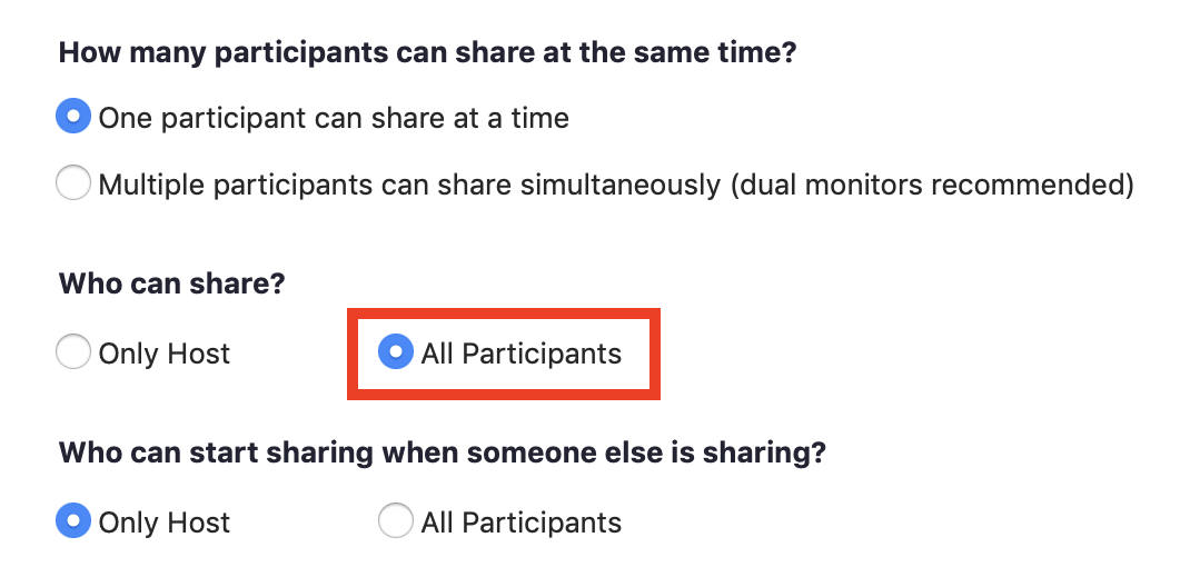 Screenshot of UTS Zoom Advanced Sharing Options displaying 'Who can share?' option with 'All Participants' selected