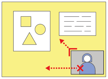 Stylised blue and yellow graphic with red arrows showing where to click on a picture-in-picture display to move or resize