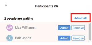 Screenshot of Zoom meeting participants in waiting room with 'Admit all' highlighted.