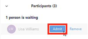 Screenshot of Zoom meeting participant in waiting room with 'Admit' highlighted.
