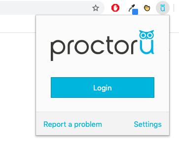 Screen shot of ProctorU login window