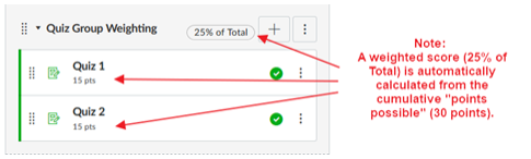 Screenshot of an assignment group with two different subtotals, with red arrows and text highlighting them