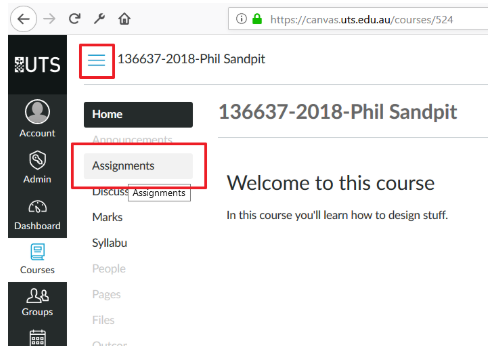 Screenshot of locating the Assignment Groups option