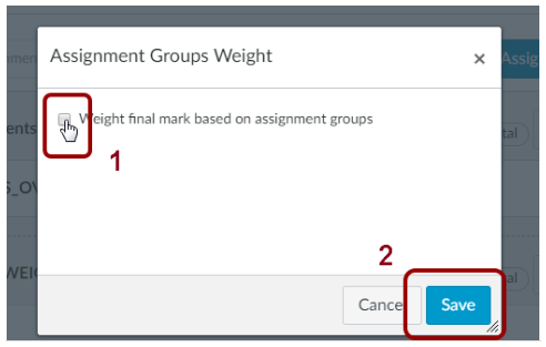 Screenshot of the Assignments Group Weight option