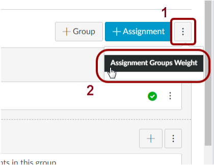 Screenshot of the Assignment Group Weight page