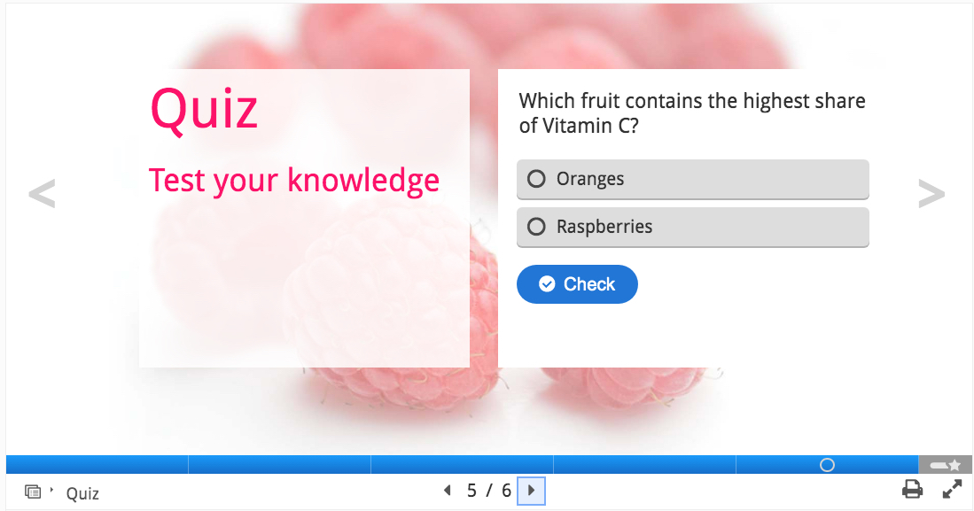 Screenshot of course presentation in H5P, Quiz tool example