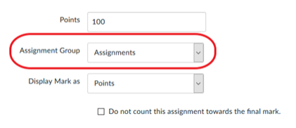Screenshot of selecting the Assignment Group