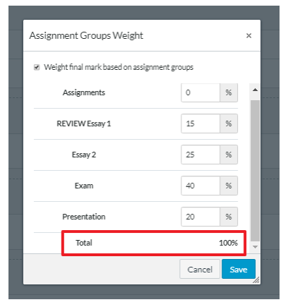 Screenshot of Assignment Groups total adding up to 100%
