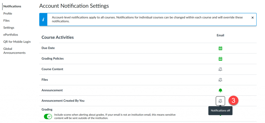 Screenshot with the location of Announcement Created by You in the list of Account Notification Settings,