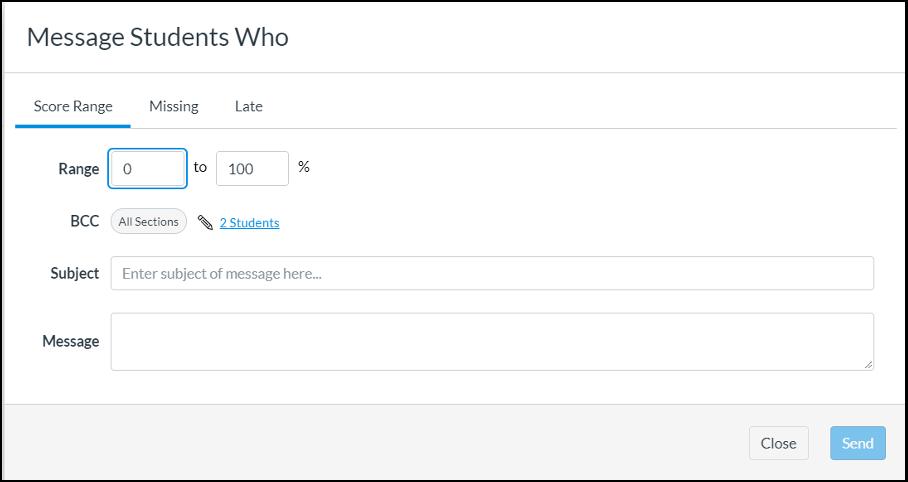 screenshot of messaging options