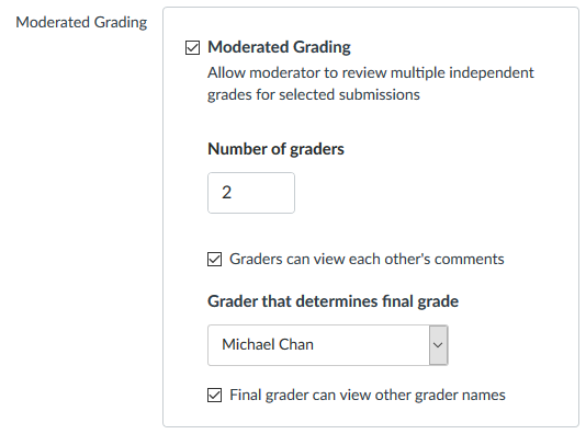 The moderated grading dialog box with the moderaded grading option ticked, the number of graders set to 2, the graders can view each other's comments option ticked, and the final grader can view other grader names option ticked.