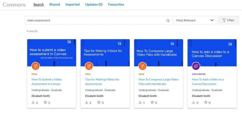 """In Canvas Commons, a search for """"video assessment"""" displays 4 resources related to video assessment. Resources listed in text below."""