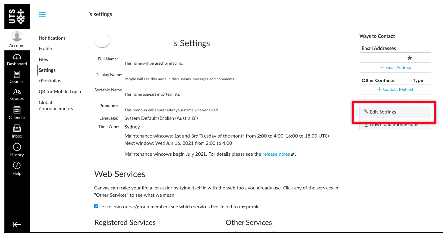 Edit settings button in Canvas.