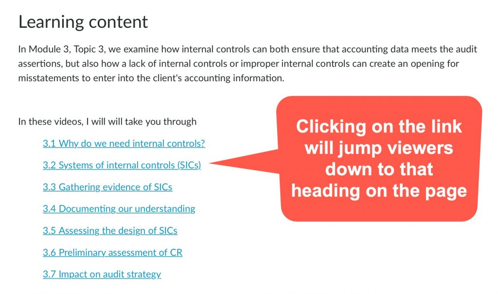Extract of a Canvas page that shows topics for student learning - all topics appear as hyperlinks