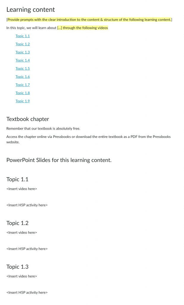 An image of a Canvas page that shows multiple topics with hyperlinks and then below the headings that the table of contents will automatically link to.