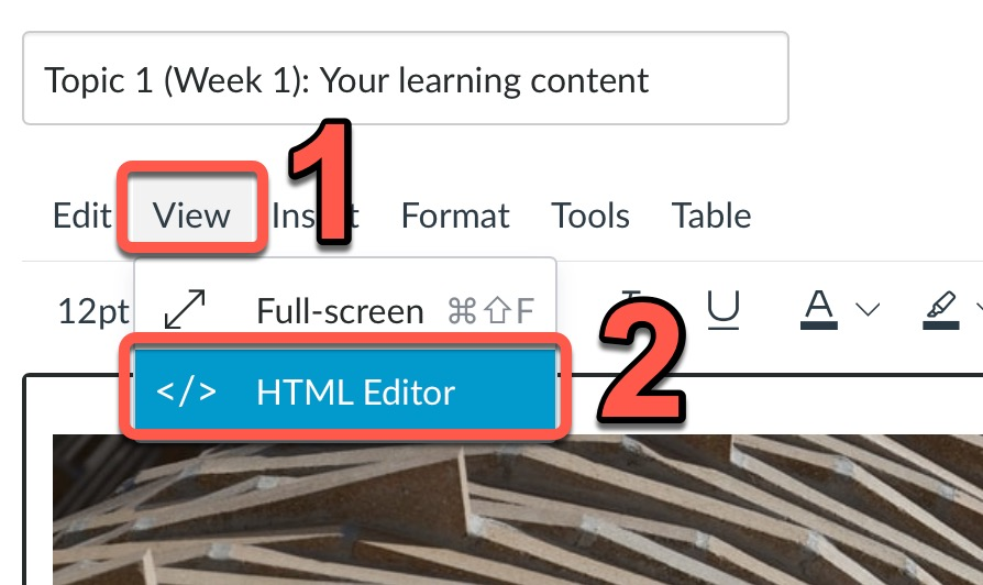 Demonstration of how to access the Canvas HTML editor - View, then HTML editor