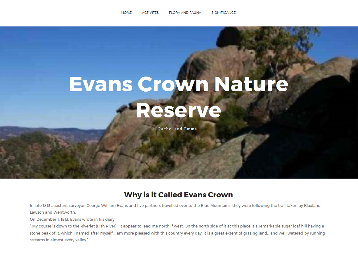 "Screen capture of student developed website. Text reads ""Evans crown nature reserve"" with image of rocks behind."