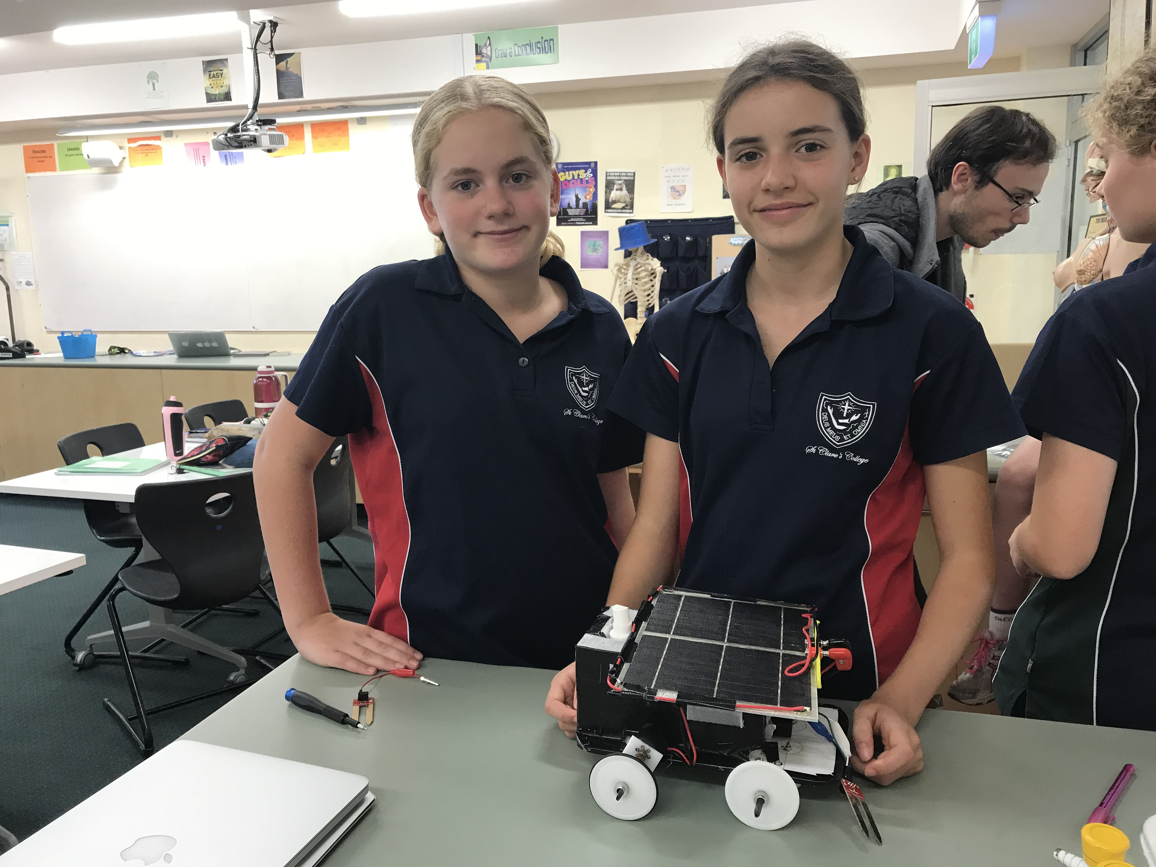 Two students work on their STEAMpunk project